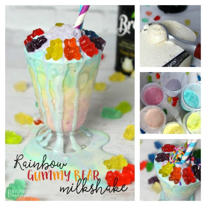 A super easy and seriously fun Rainbow Gummy Bear Milkshake Recipe - Make the kids smile this colorful candy gummy bear topped milkshake - at B-Inspired Mama