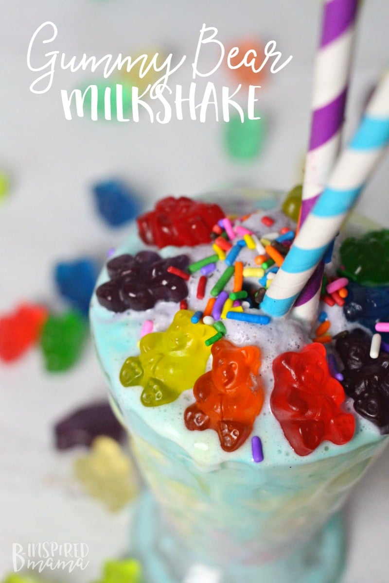 A super easy and seriously fun Rainbow Gummy Bear Milkshake Recipe - Make the kids smile this colorful fandy topped milkshake - at B-Inspired Mama