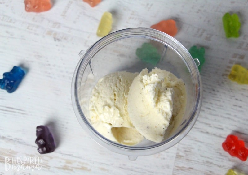 A super easy and seriously fun Rainbow Gummy Bear Milkshake Recipe - high quality ice cream - at B-Inspired Mama