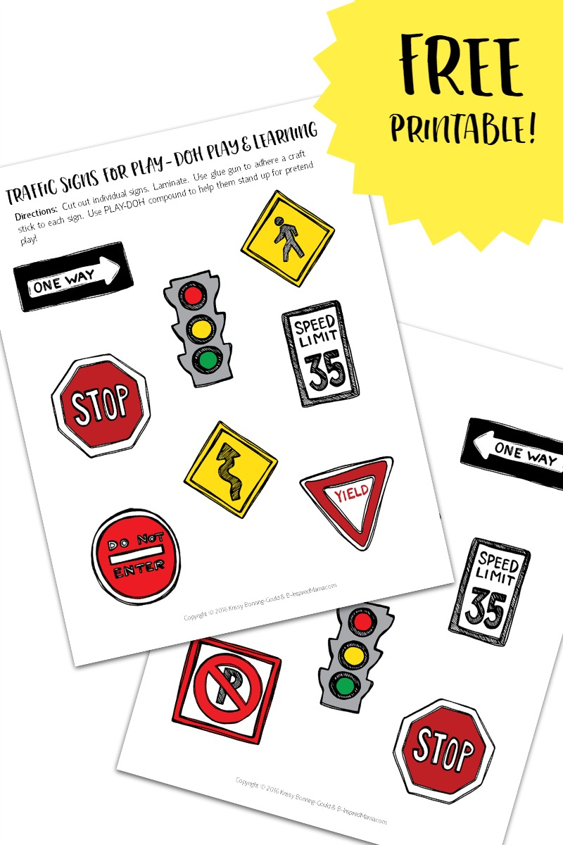 Free Printable Traffic Signs for Play and Learning - with PLAY-DOH Town Playsets