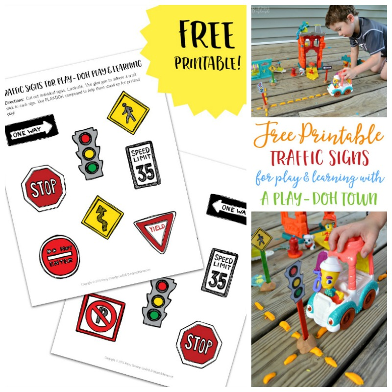 Free Printable Traffic Signs for Play and Learning with PLAY DOH!