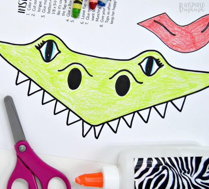Make a Super Cool Box Tops Eating Alligator - make collecting box tops more fun with this free printable kids craft- at B-Inspired Mama
