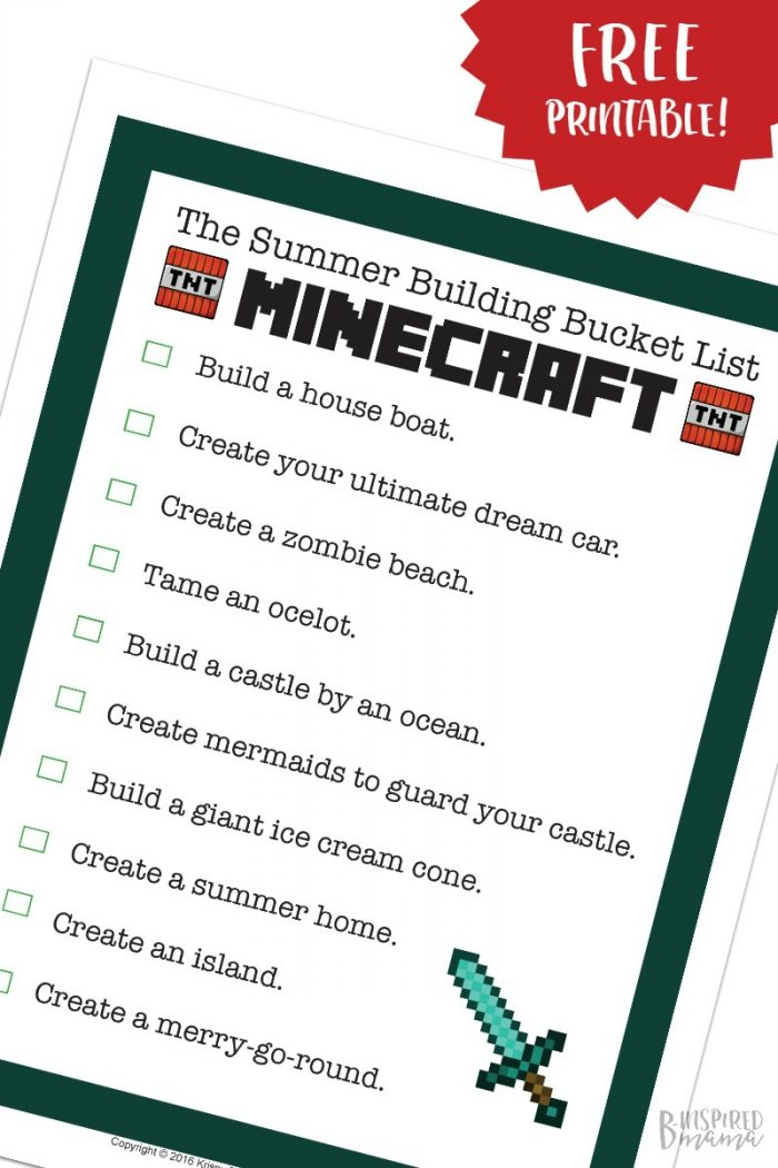 Free Printable: Minecraft Building Ideas to Fill the Rest of