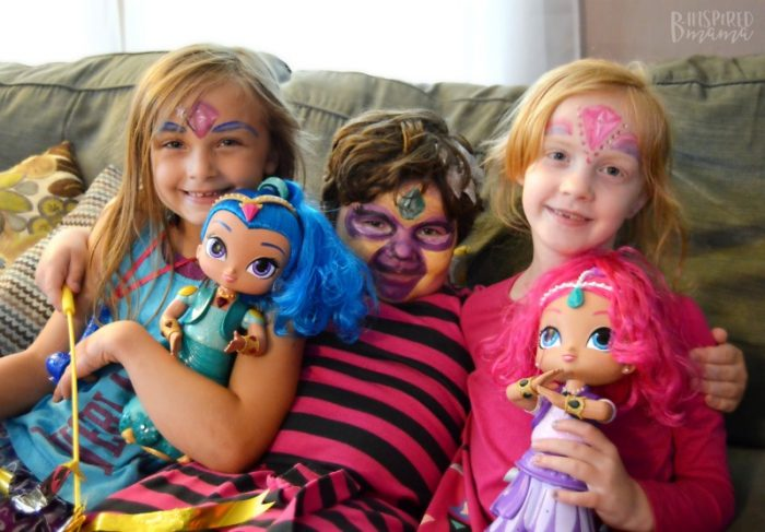 4 Simple Steps to a Girly Party your Daughter will Adore - Miss P and her friends at their Shimmer and Shine Party - at B-Inspired Mama