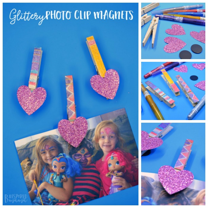 Easy Glittery DIY Magnet Photo Clips