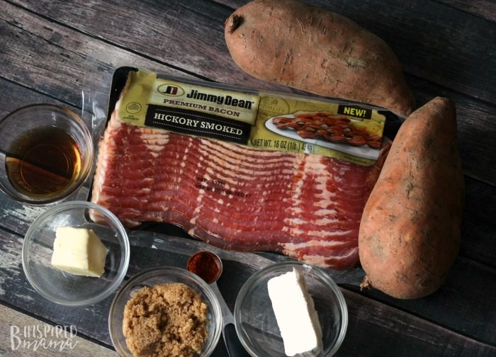 Ingredients for a Delicious Maple Bacon Sweet Potato Recipe - Perfect for an Autumn Dinner - at B-Inspired Mama