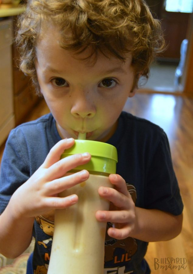 JC and his Vanilla Peanut Butter Smoothie - at B-Inspired Mama