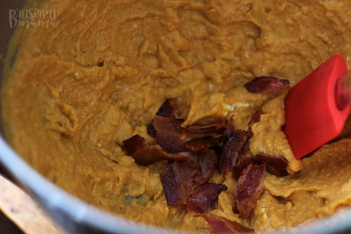 Making the Whipped Sweet Potato Filling - Delicious Maple Bacon Sweet Potato Recipe - Perfect for an Autumn Dinner - at B-Inspired Mama