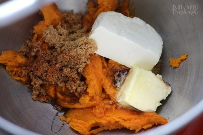 Mixing up the Sweet Potato Filling - Delicious Maple Bacon Sweet Potato Recipe - Perfect for an Autumn Dinner - at B-Inspired Mama
