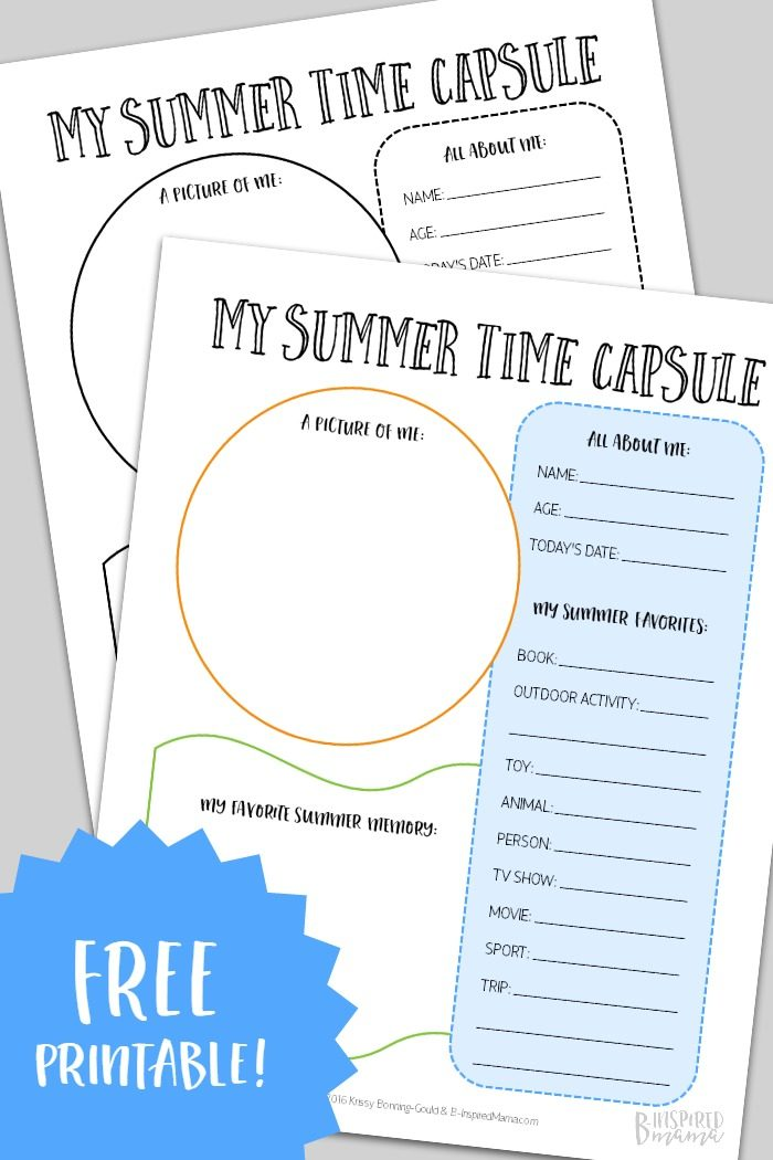 graphic relating to Time Capsule Printable identify A Summertime Season Capsule Printable toward Freeze Youngsters Summer months Reminiscences