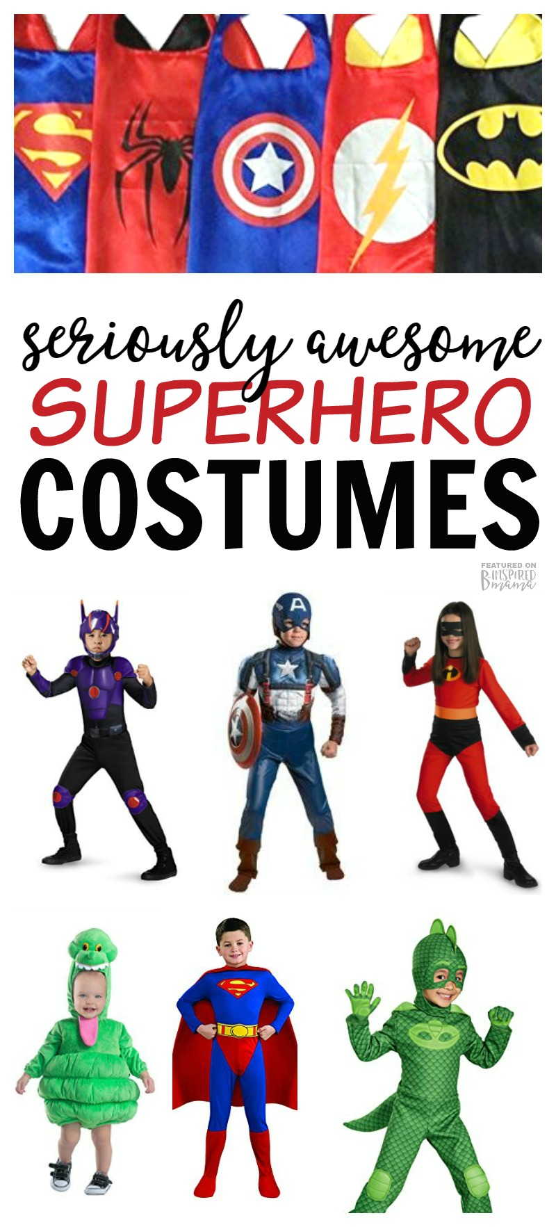 Seriously Awesome Superhero Costumes for Kids this Halloween - from classic capes to your kids favorite characters - at B-Inspired Mama