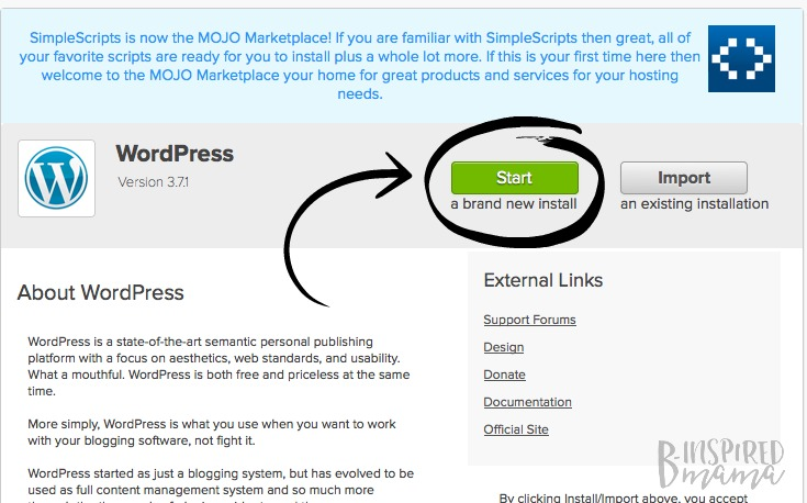 The easiest way to start a blog - only 4 simple steps - install WordPress - at B-Inspired Mama
