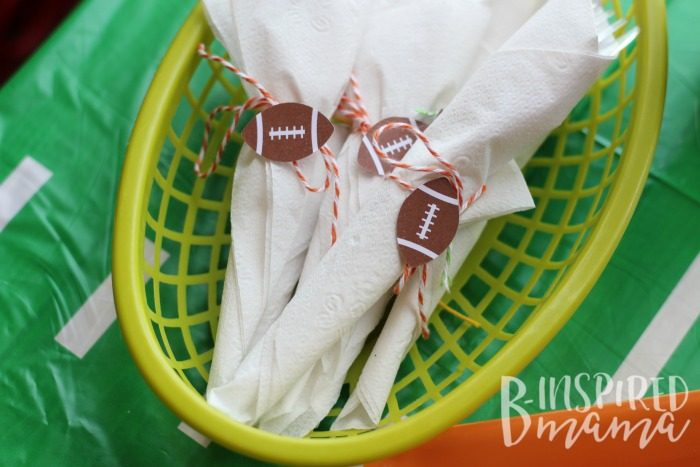 Make cute napkin wrapped utensils for your next football party