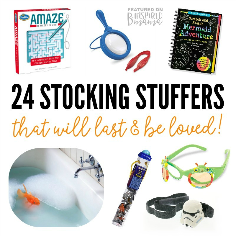 24 Unique and High Quality Kids Stocking Stuffers that will last and be loved - A 2016 Holiday Gift Guide from B-Inspired Mama