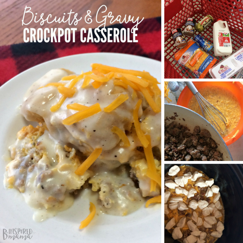 Easy Biscuits and Gravy Crockpot Breakfast Casserole - perfect for Christmas morning breakfast!