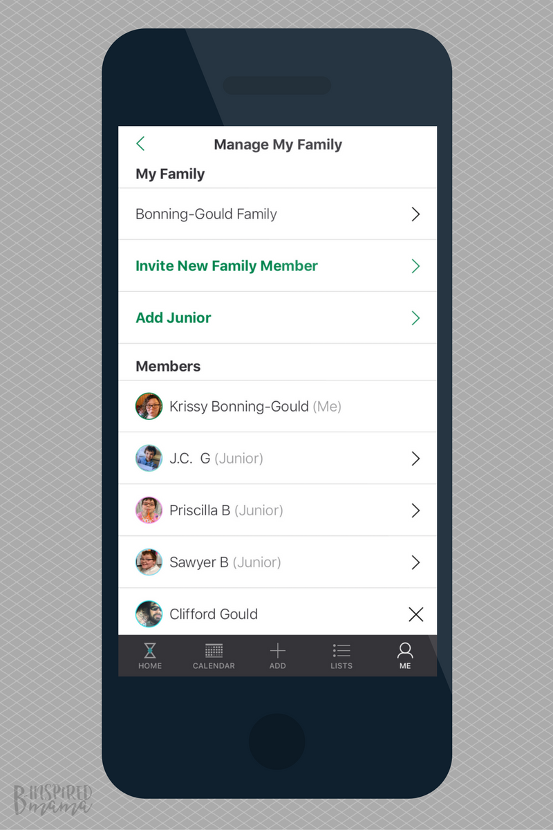 Adding my family members to our new Family Calendar App - at B-Inspired Mama
