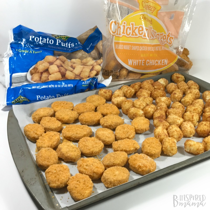 Making my easy Nugget and Tot Kabobs for Kids - perfect for a Super Bowl Party or a simple family dinner - at B-Inspired Mama