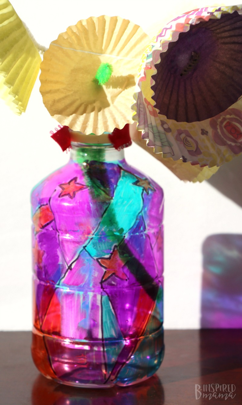 A Funky Flower Vase Plastic Bottle Craft with a stained glass effect!