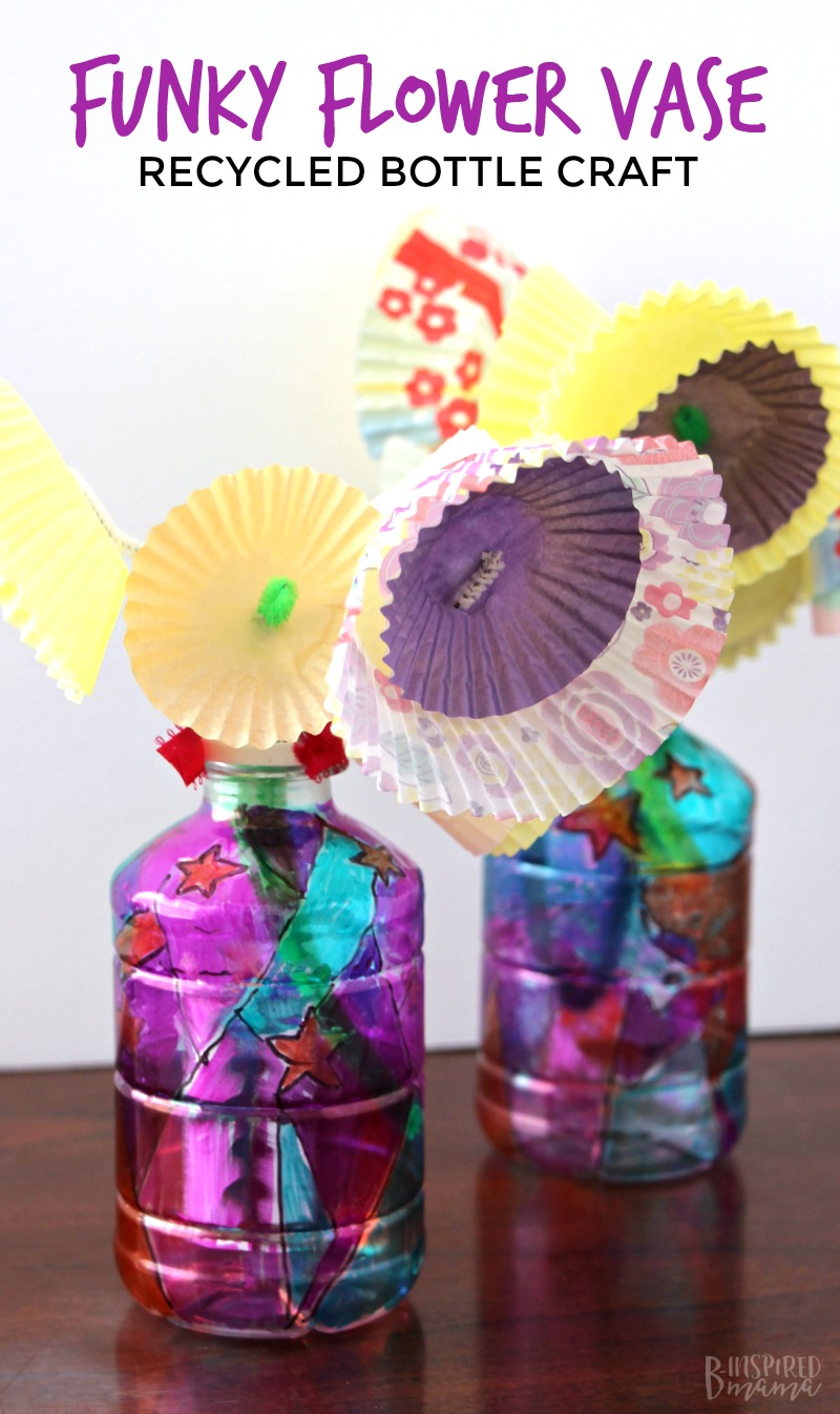 Funky Upcycled Flower Vase Plastic Bottle Craft for Kids on windchimes from bottles, glasses from bottles, lamps from bottles, garden art from bottles, bracelets from bottles, bird feeders from bottles,