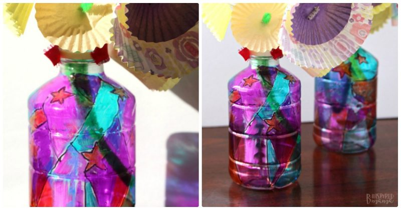 Funky upcycled flower vase plastic bottle craft for kids for Plastic bottle vase craft