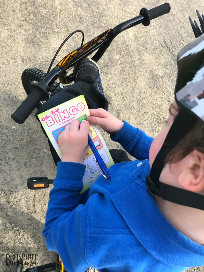 JC having fun playing Kids Bike Bingo - Making Learning to Ride a Bike Fun