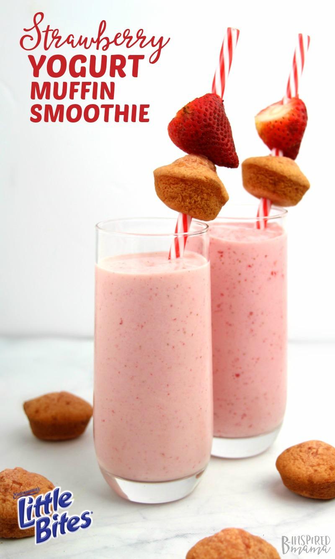 Super easy and so yummy Strawberry Yogurt Muffin Kids Smoothie - at B-Inspired Mama