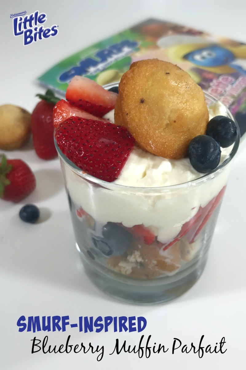 Super Fun Smurf Blueberry Muffin Parfait Recipe - Perfect for kids to make on their own