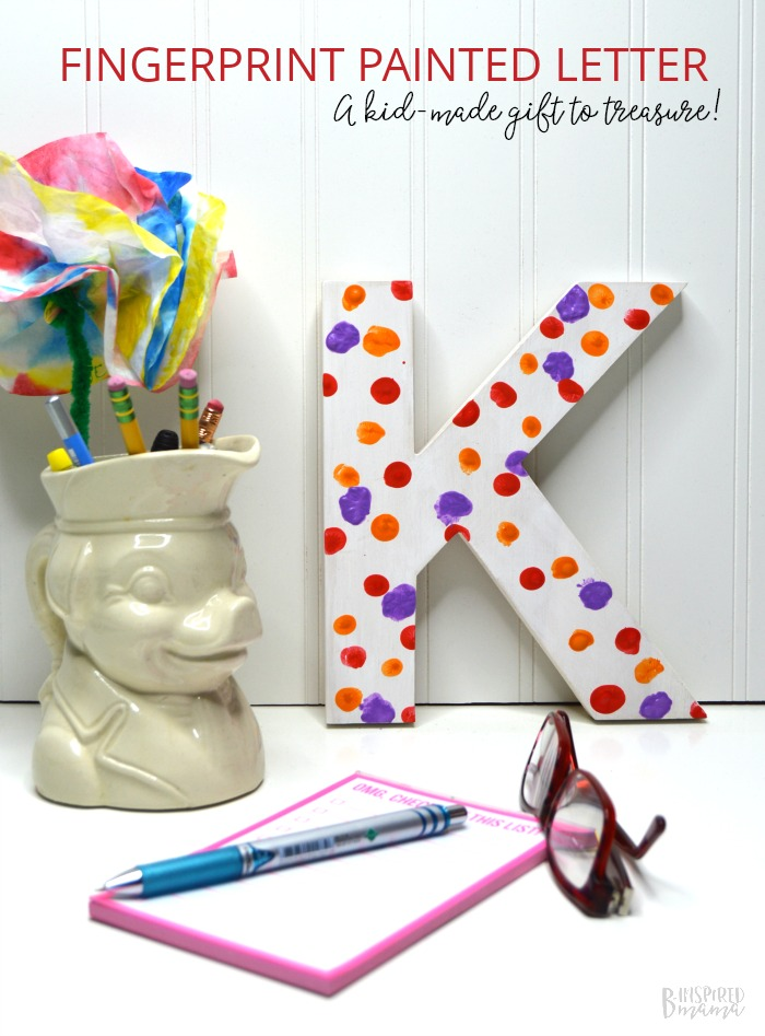 A Cute Painted Letter Craft - The perfect kid made handmade gift for mom or grandma - at B-Inspired Mama