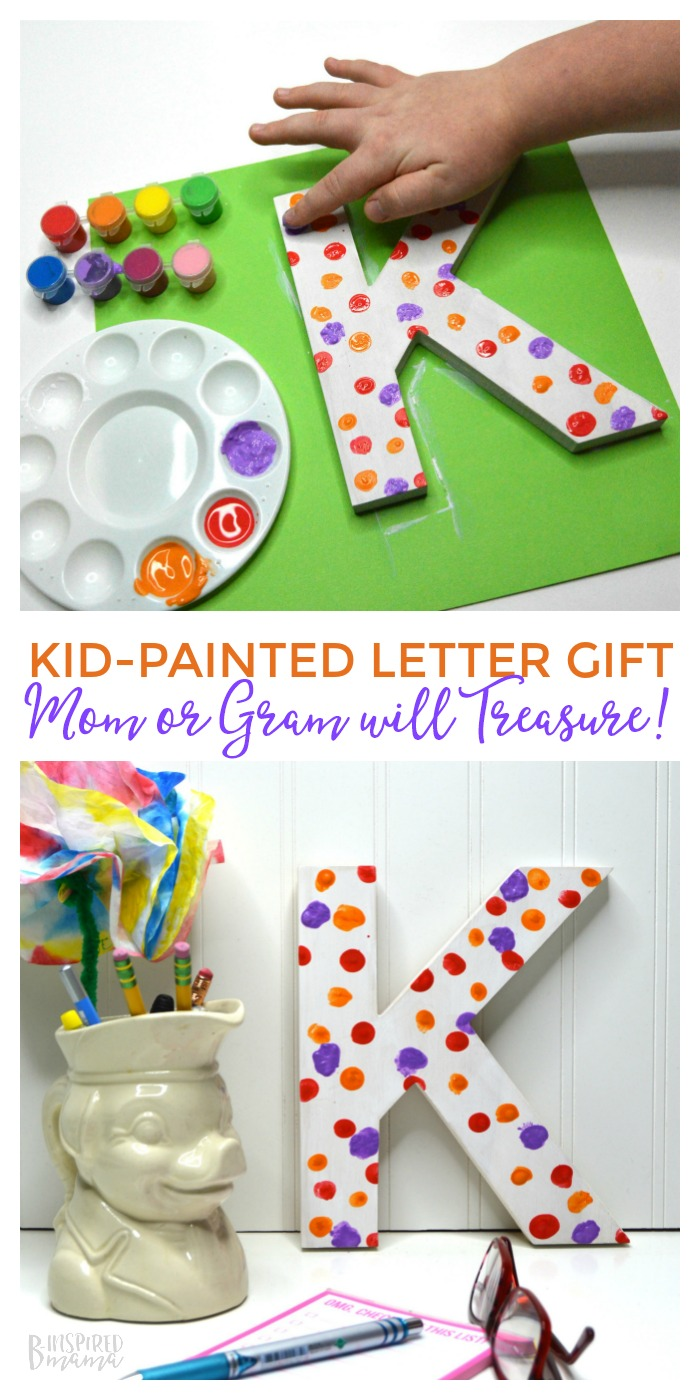 A Super Cute and Easy Kid Painted Letter Craft - The perfect kid made handmade gift for mom or grandma - at B-Inspired Mama