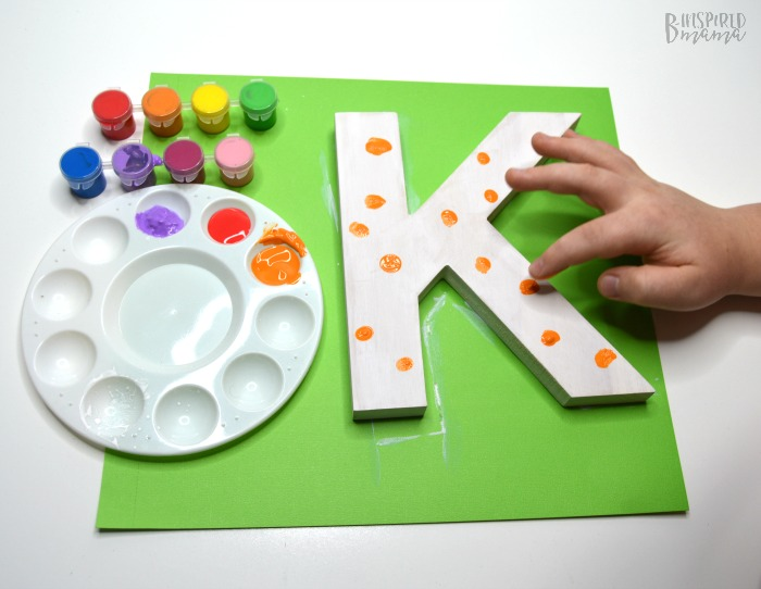 Cute Painted Letter Craft - Adding fingerprint polka dots