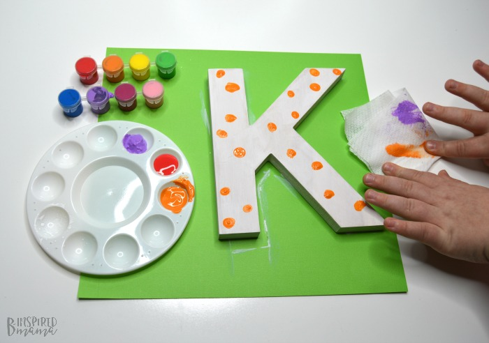 Cute Painted Letter Craft - Making sure to clean little fingers between colors