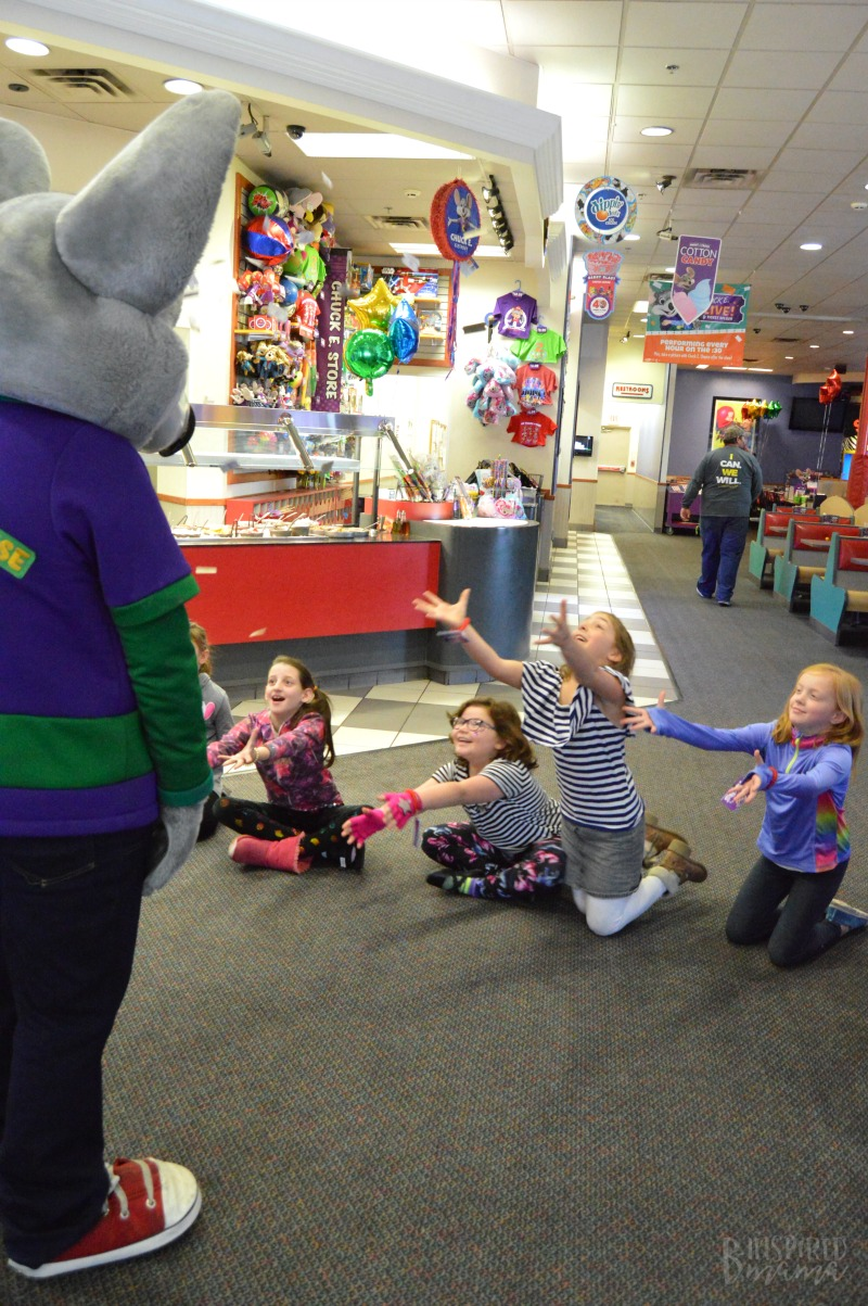 Having Fun with Chuck E. at Priscilla's Birthday Party + Meaningful Birthday Traditions for Kids - at B-Inspired Mama