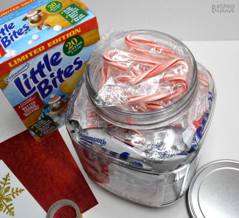 Adding Candy Canes - A Yummy Bite and Hot Chocolate Jar Gift - A Sweet Gift for Any Family - B-Inspired Mama