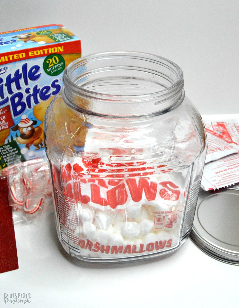 Adding Marshmallows - A Yummy Bite and Hot Chocolate Jar Gift - A Sweet Gift for Any Family - B-Inspired Mama