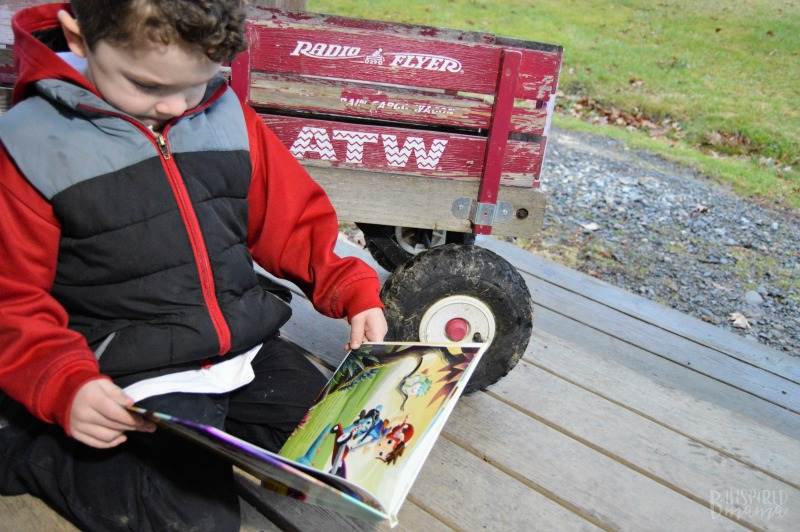 JC reading his personalized My Radio Flyer Adventure book - A fun imaginative action-packed book!