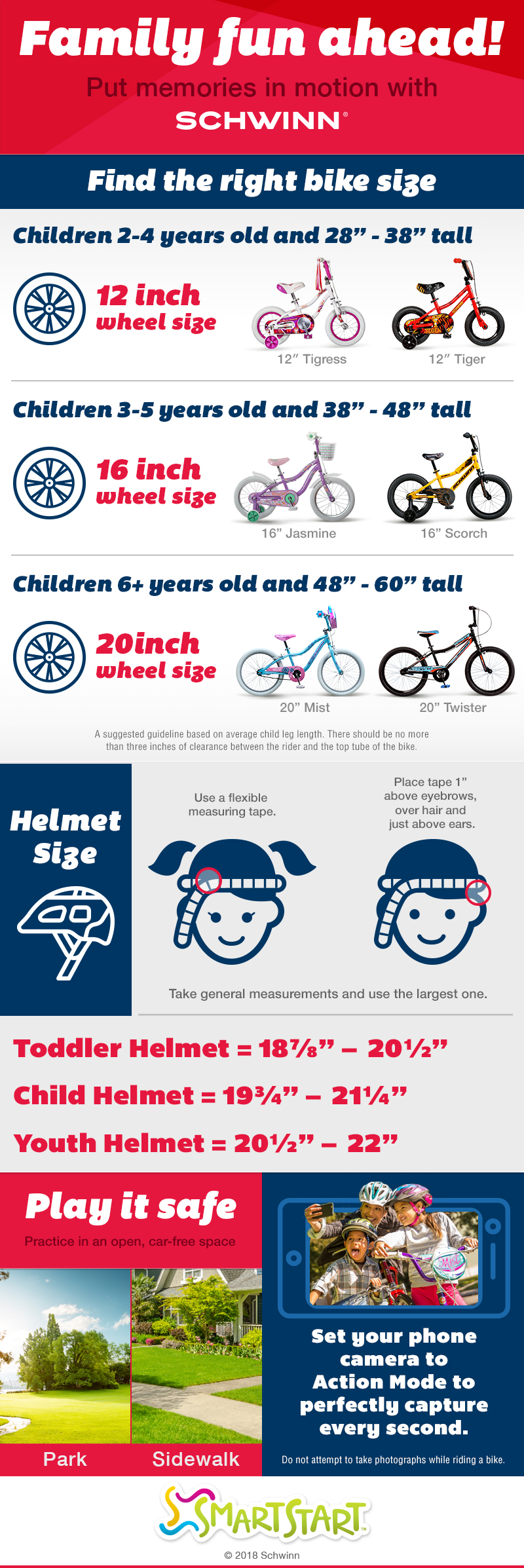 The Schwinn SmartStart Ride Guide Simplifies Kids Bikes and Kids Bike Helmet Sizes