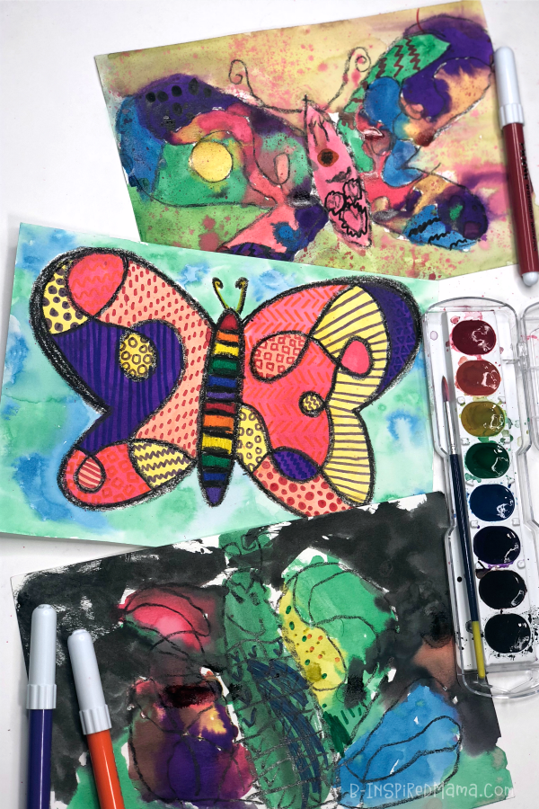 The kids loved this Crazy Colorful Butterfly Watercolor Painting