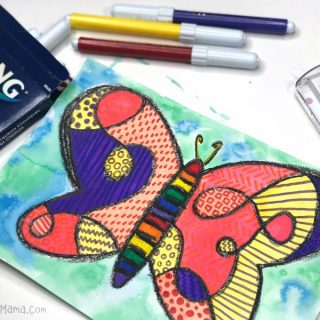 A Pattern-Filled Crazy Colorful Butterfly - A Fun Watercolor Painting for Kids