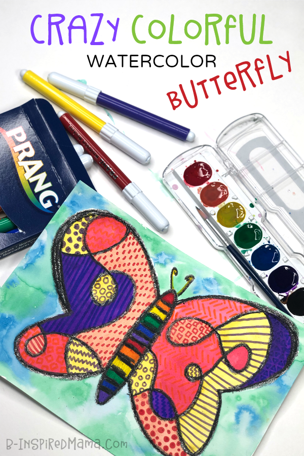 Crazy Colorful Butterfly Watercolor Painting for Kids! - A fun way to explore watercolors and patterns too