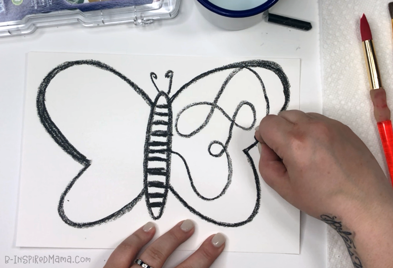 Drawing our Crazy Colorful Butterfly for a fun Watercolor Painting for Kids!