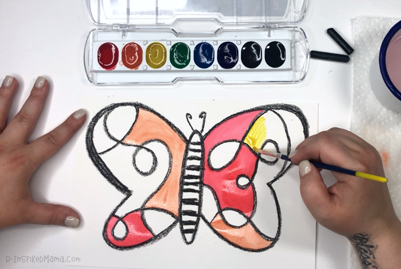 Painting our Crazy Colorful Butterfly for a fun Watercolor Painting for Kids!