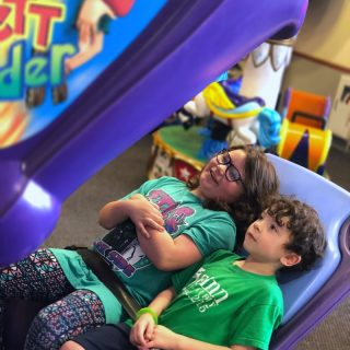 Some sibling bonding during our Indoor Fun for Kids at Chuck E. Cheese's