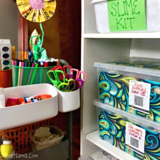Organizing Kids Art Supplies so the kids can use an art cart and rotate or stock up arts and crafts supplies easily!