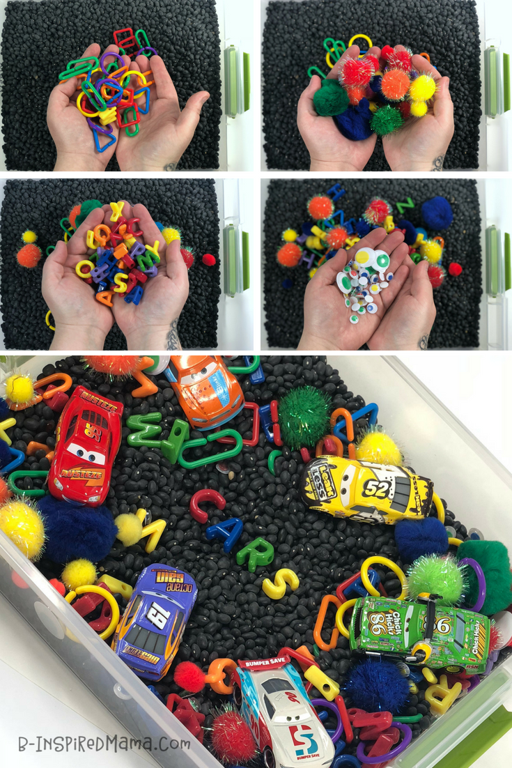 A Super-FUN Race Car Themed Color Sorting Sensory Bin - with our new Cars 3 Toys!