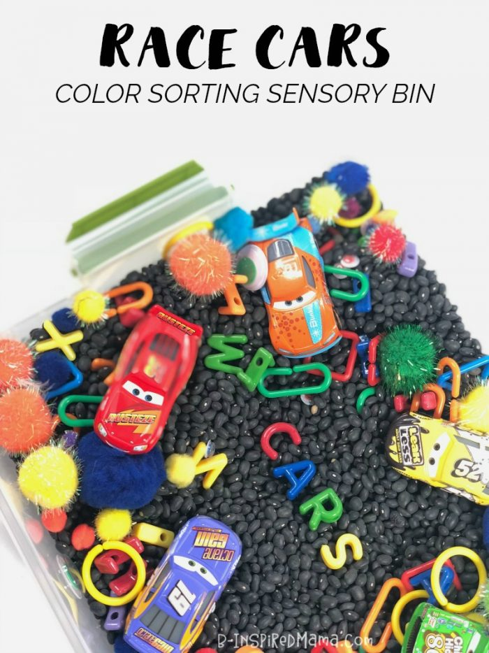 Celebrate Cars Day with a Fun Race Car Themed Color Sorting Sensory Bin and new Cars 3 Toys from Walmart!