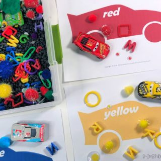 Printable Car Color Sorting Mats in all 6 Colors of the Rainbow! - for a Fun Race Car Themed Color Sorting Sensory Bin and some new Cars 3 Toys from Walmart!