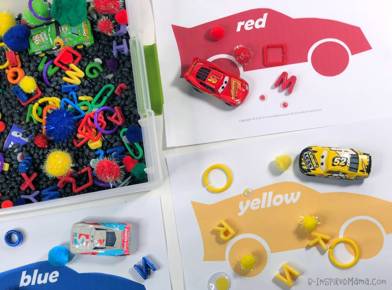 A Fun Race Car Color Sorting Sensory Bin With Free Color Mats
