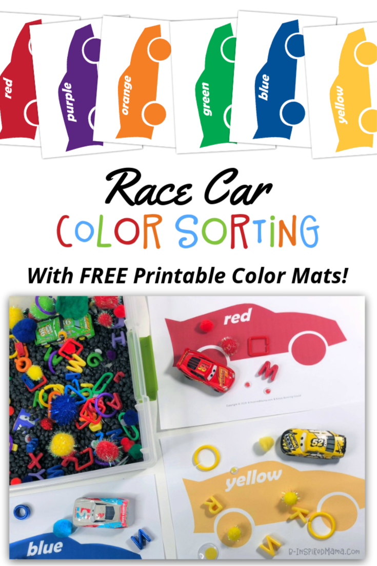 This easy-to-throw-together sensory bin and car color sorting activity make learning colors FUN! Grab the FREE printable color sorting mats today! #kids #sensory #sensoryactivity #sensoryactivities #preschool #preschoolers #learning #earlychildhood #ece #colors #colorlearning #learncolors #kidsactivity #kidsactivities #binspiredmama