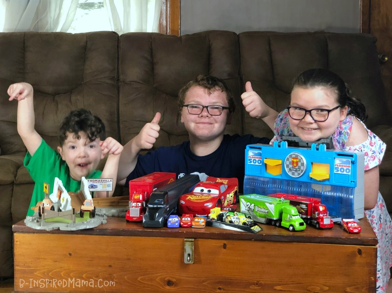 The kids with their new Cars 3 toys!