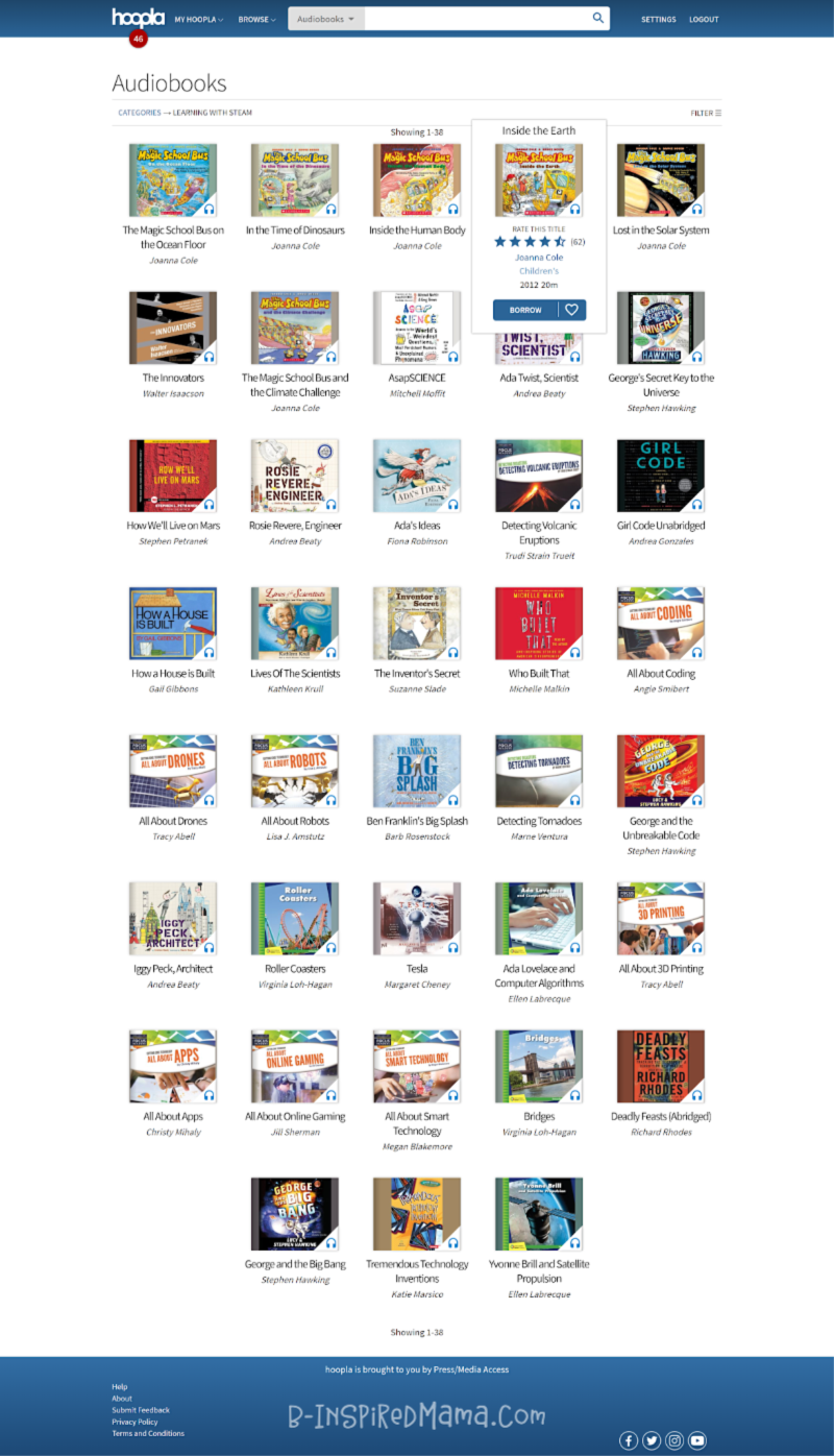 Finding so many STEAM audiobooks for the kids on hoopla digital + so many more STEAM resources for parents and teachers